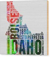 Idaho Watercolor Word Cloud  Wood Print