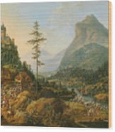 Idealized River Landscape With A Hunting Party Wood Print