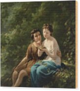 Idyll In The Forest Interior Wood Print