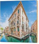 Idyllic Canal In Venice Wood Print