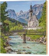 Idyllic Church In The Alps Wood Print