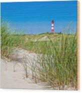 Idyllic Dunes And Lighthouse At North Sea Wood Print
