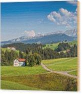Idyllic Landscape In The Alps, Appenzellerland, Switzerland Wood Print