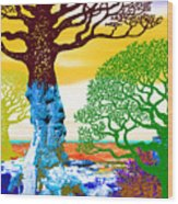 If A Tree Falls In Sicily Color 2 Wood Print