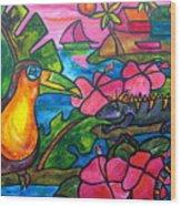 Iguana Eco Tour Wood Print by Patti Schermerhorn