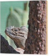 Iguana Head Wood Print