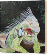 Iguana Midnight Snack Wood Print