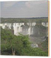 Iguassu Falls From Brazil Wood Print
