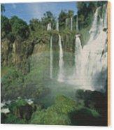 Iguazu Waterfalls With A Rainbow Wood Print