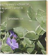 II Corinthians 12 Vs 9 Lavender Flower Wood Print