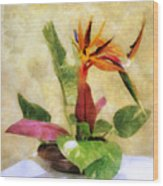 Ikebana Bird Of Paradise Wood Print