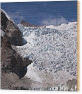 Illampu Glacier Wood Print