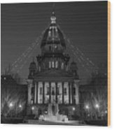 Illinois State Capitol B W Wood Print