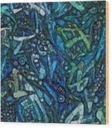 Illuminated Blue Wood Print