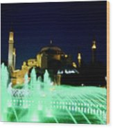 Illuminated Fountain Of Istanbul Wood Print