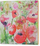 Illusions Of Poppies Wood Print