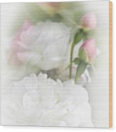 Illusions Of White Roses And Pink Rosebuds Wood Print