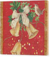 Illustrated Holly, Bells With Birdie Wood Print
