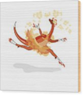 Illustration Of A Ballerina Dancing Wood Print
