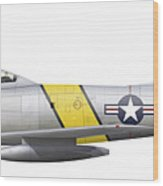 Illustration Of A North American F-86f Wood Print
