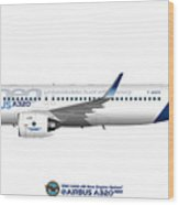 Illustration Of Airbus A320 Neo F-wneo Wood Print
