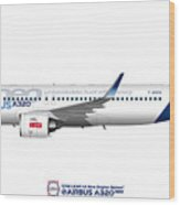Illustration Of Airbus A320 Neo F-wnew Wood Print
