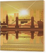 Illustration Of City Skyline - London  Sunset Panorama Wood Print