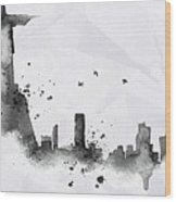 Illustration Of City Skyline - Rio De Janeiro In Chinese Ink Wood Print