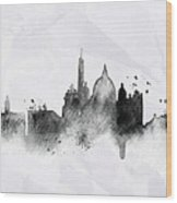 Illustration Of City Skyline - Rome In Chinese Ink Wood Print