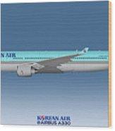 Illustration Of Korean Air Airbus A330-300 - Blue Version Wood Print