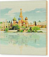 Illustration Of Moscow In Watercolour Wood Print