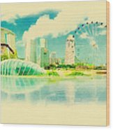 Illustration Of Singapore In Watercolour Wood Print