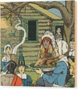Illustration Of The First Thanksgiving Wood Print