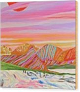 My Imagination Of China's Vast Rainbow Mountains Wood Print