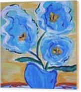 Imagine In Blue Wood Print