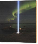 Imagine Tower Of John Lennon In Iceland Wood Print by Andres Zoran Ivanovic