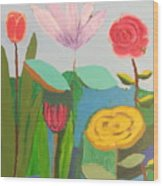 Imagined Flowers One Wood Print