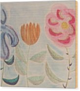 Imagined Flowers Two Wood Print