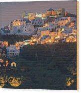 Imerovigli After Sunset, Santorini Wood Print