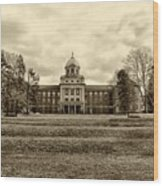 Immaculata University In Black And White Wood Print