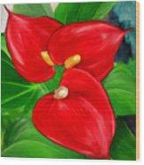 Immeasurable Beauty- Anthurium Paintings Wood Print
