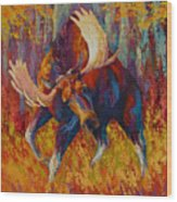 Imminent Charge - Bull Moose Wood Print