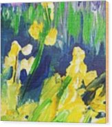 Impression Flowers Wood Print