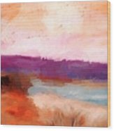 Impressionist Beach Scene Wood Print