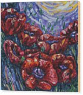 Impressionist Field Poppies Wood Print