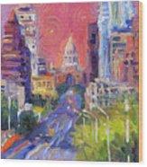 Impressionistic Downtown Austin City Painting Wood Print