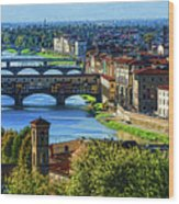 Impressions Of Florence - Long Blue Shadows On The Arno River Wood Print