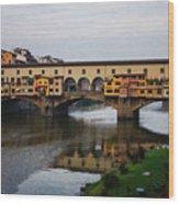 Impressions Of Florence - Ponte Vecchio Autumn Wood Print
