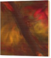 Impressions Of Red And White Leaves Wood Print