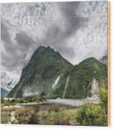 Impressive Weather Conditions At Milford Sound Wood Print